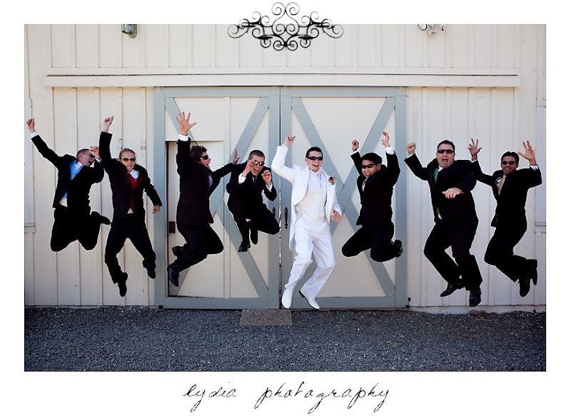 Jared and the groomsmen jumping before the wedding in Santa Rosa California