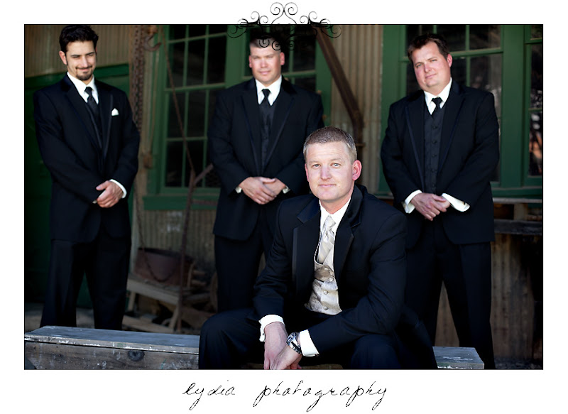 Groom and groomsmen hanging out for a group picture at an Empire Mine State Park wedding