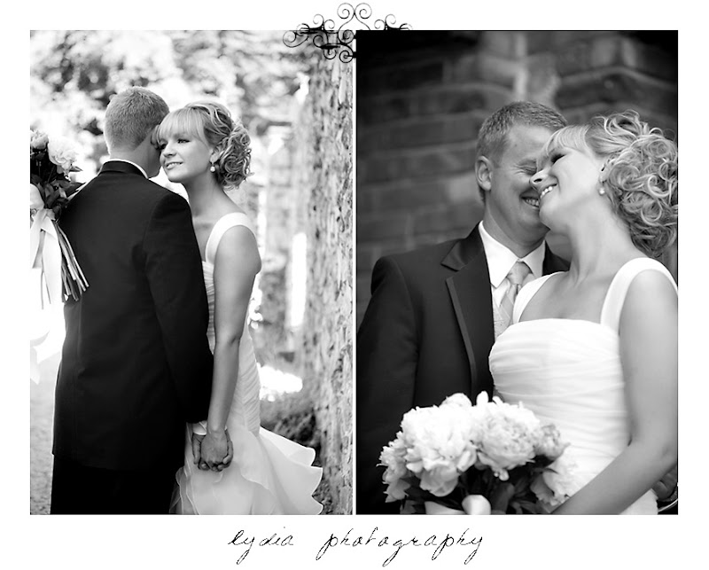 Sweet and laughing black and white bride and groom portraits at an Empire Mine State Park wedding