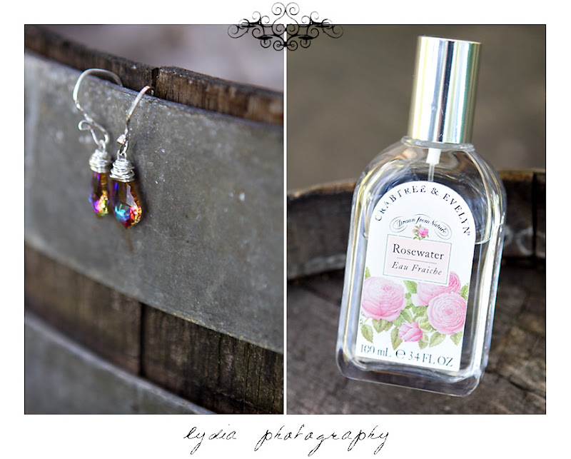 The bride's earrings and perfume at a Kenwood Farms & Gardens wedding