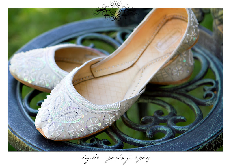 The bride's Indian style wedding shoes at a Kenwood Farms & Gardens wedding