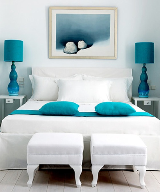 Beautiful Bed Rooms Delectable With White and Turquoise Bedroom Decor Picture
