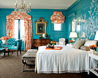 i love this room the side tables are made from music drums i love the mid century style bench and the fabric of its cushion and i love the art above the - Turquoise Bedroom Designs