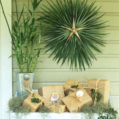 Inspire bohemia holiday wreaths organic and traditional for Palm tree decorations for the home