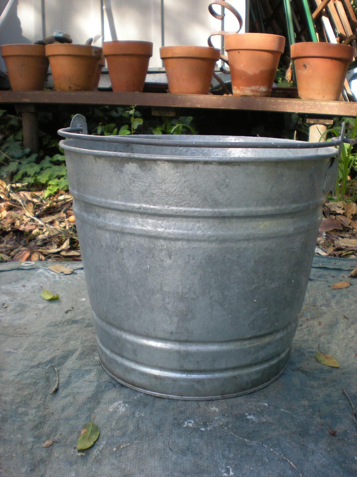 stenciled galvanized bucket