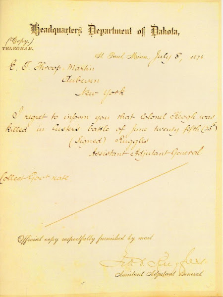 Telegram informing of Keogh's death