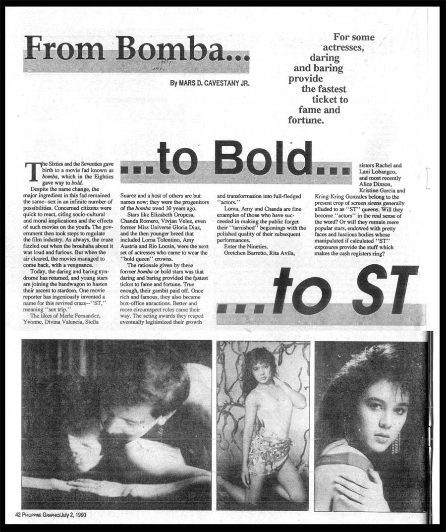 FROM BOMBATO BOLDTO ST (Philippine Graphic, July 2, 1990)