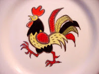 Metlox Red Rooster Salad Plate (Detail View) - click for full size view