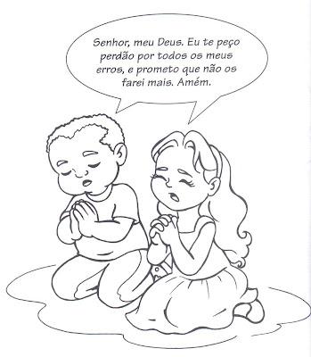 Colorir crianças orando para crianças