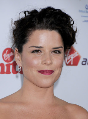 Neve Campbell Looks Beautiful In This White Tiered Strapless Dress