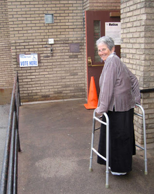woman with walker at polling place