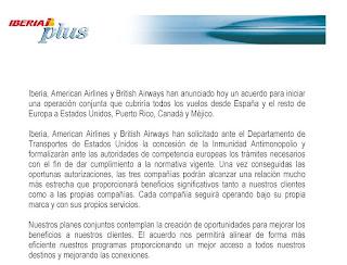 Comunicado de início de operação conjunta Iberia, American Airlines e British