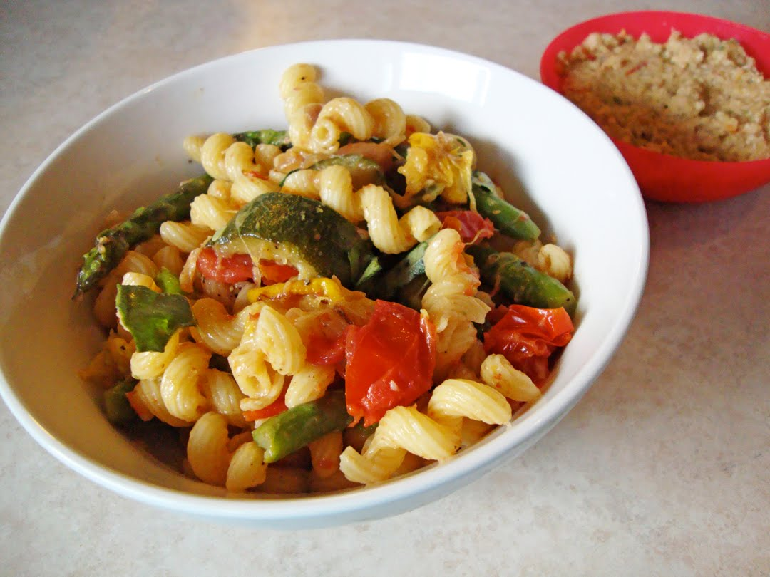 my back pages: pasta with roasted summer vegetables and basil