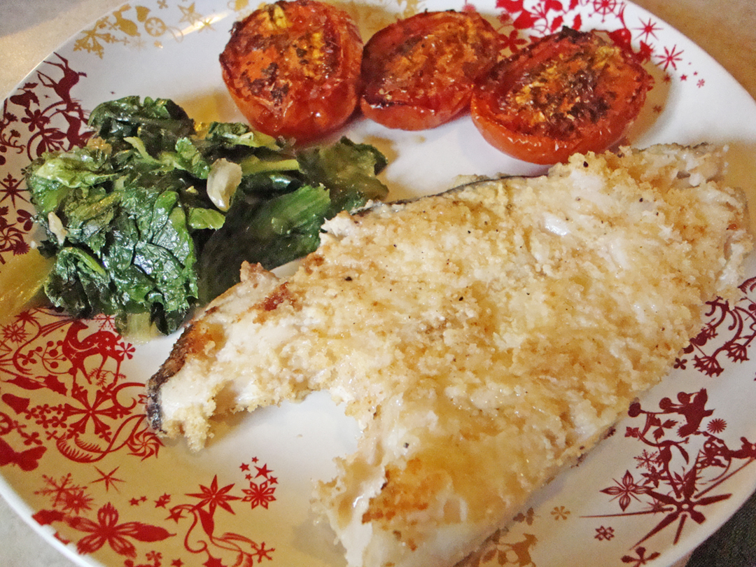 ... : baked flounder (halibut) with roasted tomatoes and sauteed escarole