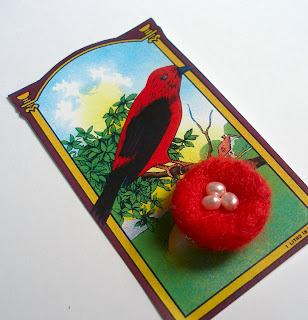 Needle Felted Red Nest Pin with Freshwater Pearl Eggs On a Reproduction Vintage Label