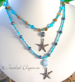 Sterling Silver Starfish Necklaces - Beach and Ocean Colors