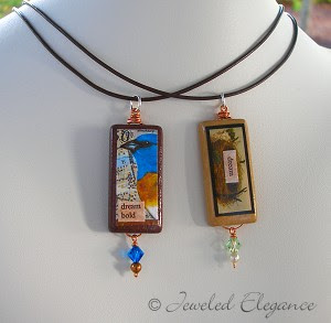 Vintage Image Bamboo Tile Pendant Necklaces - Birds and Nests