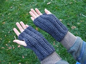 crocheted grey wool blend fingerless gloves for guys