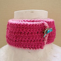 crochet hot pink ladylike choker scarflette with vintage jewel clasp