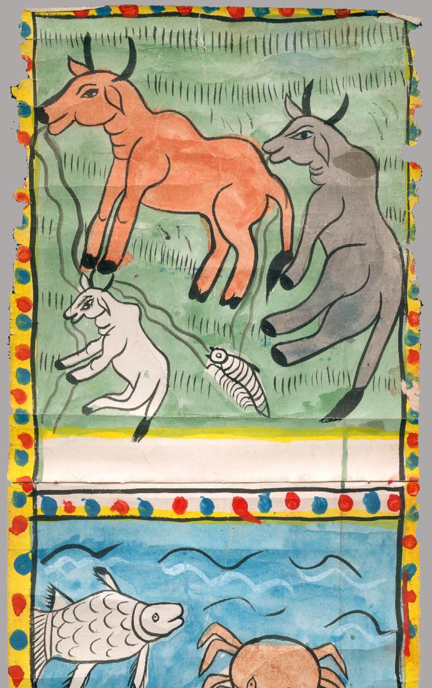 creation du monde rouleau peint du west bengal inde