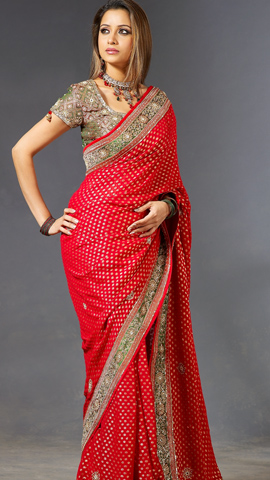 sari indien rouge