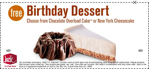 Jack in the Box: Free New Fries, Birthday Dessert Coupon