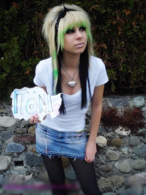 Multi Color Long Emo Hair