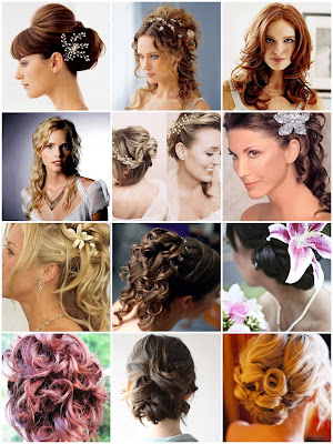 stock photo : beautiful bride with wedding hairstyle and flowers
