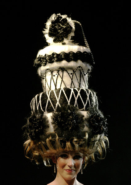 This fantasy wedding cake is not a cake at all but a fantasy hair creation