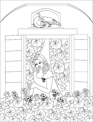 geranium adults therapy coloring page