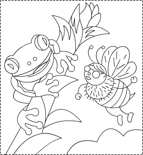 Free Frog Coloring Pages high resolution