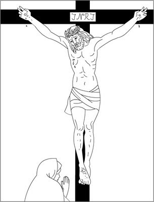 Jesus Carrying Cross Coloring Page