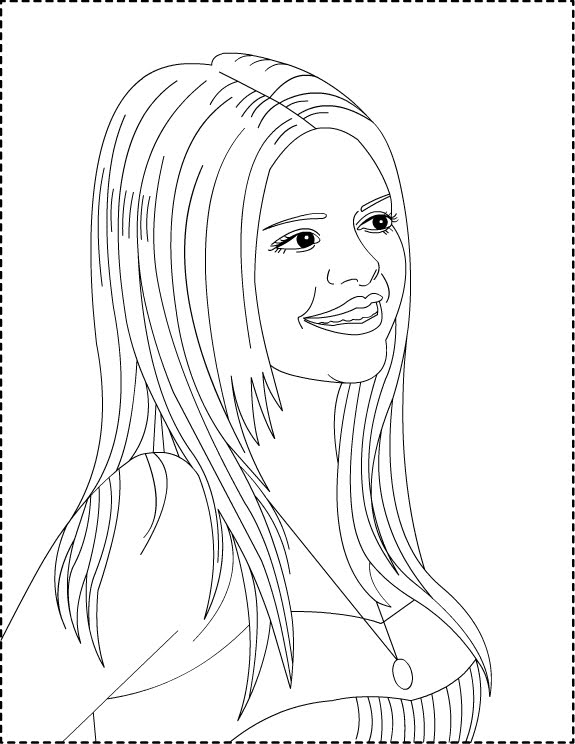 Selena Gomez Coloring Pages for Girls high quality