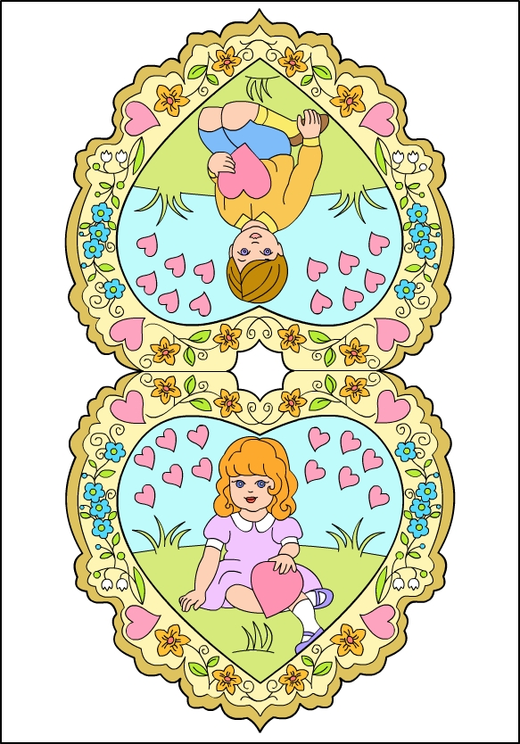 vintage valentine coloring pages - photo#18