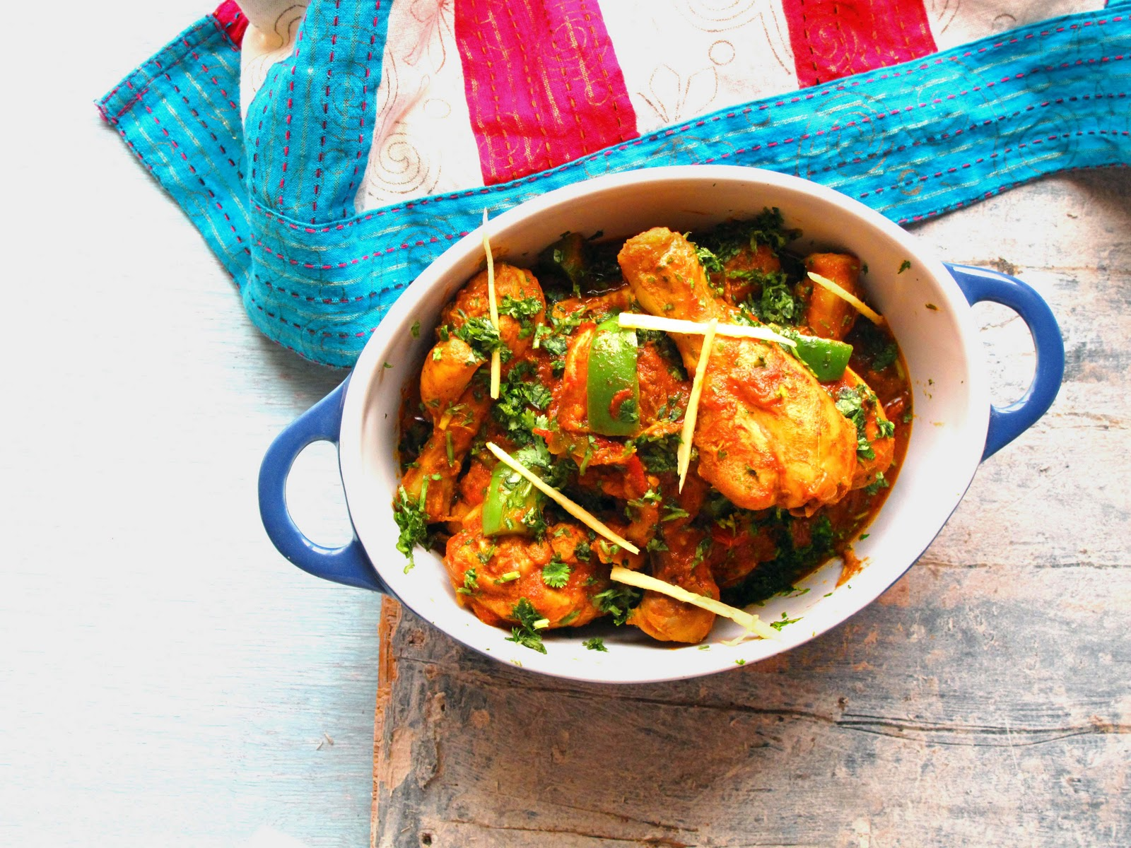 Karahi Chicken Chicken Curry In Red Gravy With Green Bell Peppers