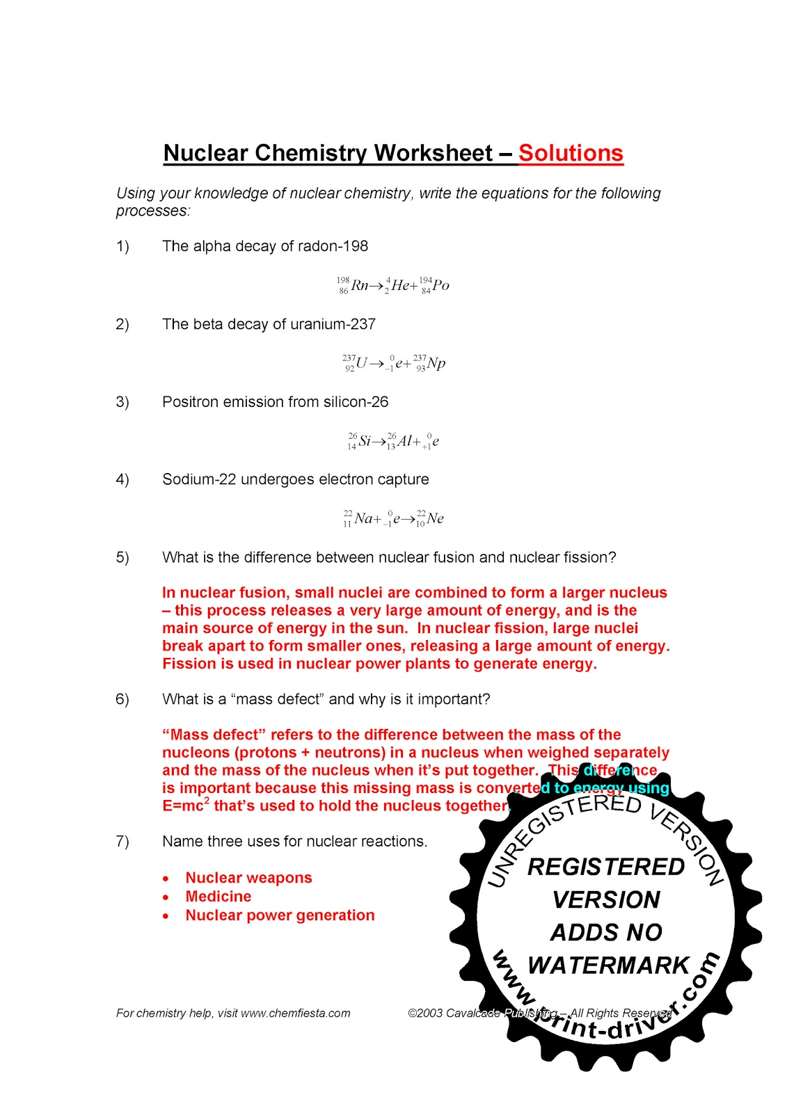Worksheet Nuclear Chemistry Worksheet mr zehners chemistry class november 2010 note the difference between positron emmision 1e and beta decay 1e