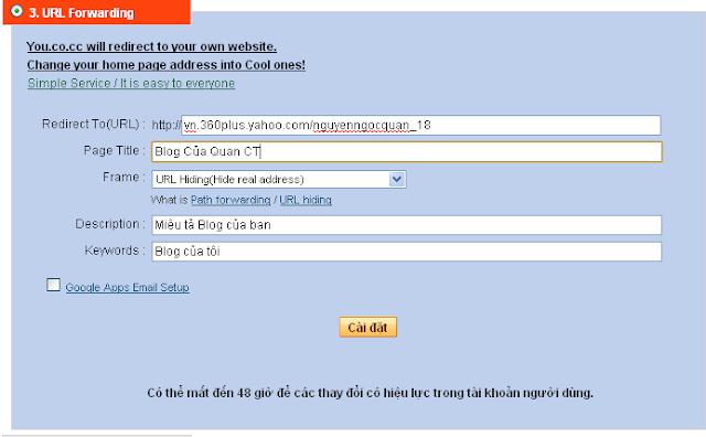 Cài Đặt Tên Miền Miễn Phí Cho Blog Plus Và Các Dịch Vụ Blog Khác Với CO.CC | CUNCON1202 | CUNCON1202.NET