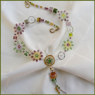 lampwork floral necklace