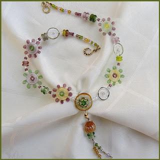 lampwork floral necklace