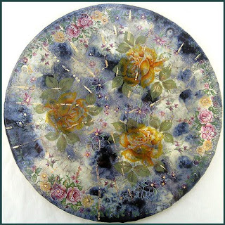 floral decor, hand painted ceramic artwork