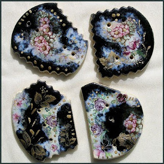 hand painted buttons, ceramic art