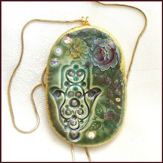 Hand painted ceramic pendant and jewelry