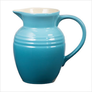 Caribbean Blue Pitcher, Le Creuset serving dishes