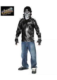 Metal Biker Costume For Kids, Skull Mask Biker Costume for Tweens