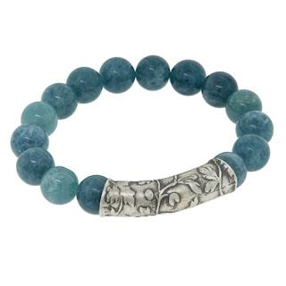 Jade and silver bracelet