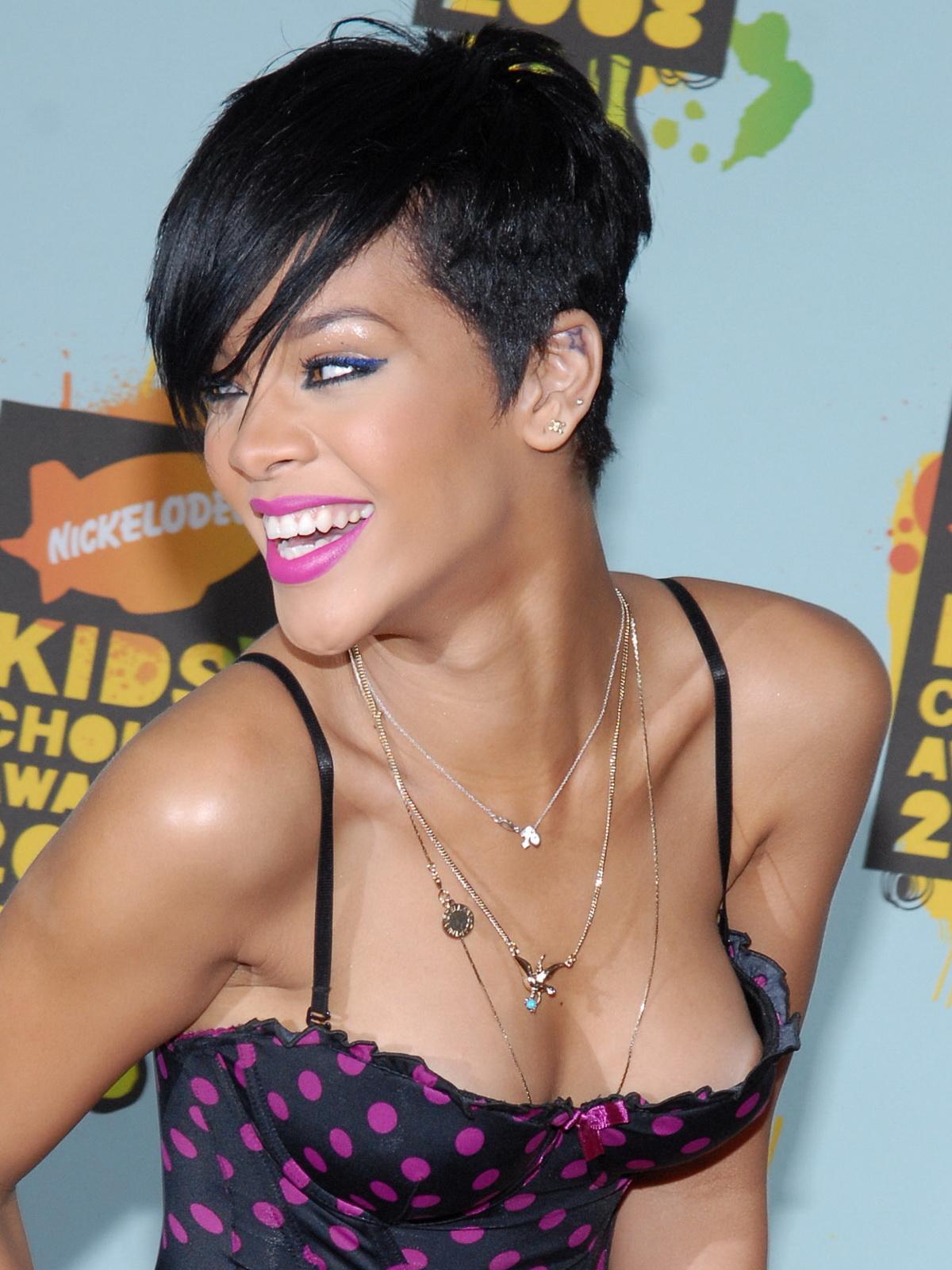 Rihanna cleavage nip areola slip