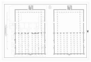 Planta hipotética de la Mezquita de Ibn Adabás, hoy Colegiata del Salvador (Sevilla) [LAAC]