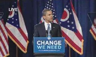 Obama in front of Ohio State Flags