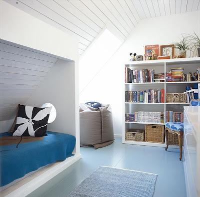 Lille lykke slapen onder een schuin dak - Deco kamer onder dekking ...