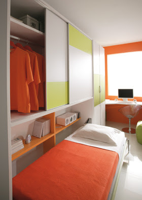 Detalle cama abatible con armario abierta - Habitaciones juveniles camas abatibles ...